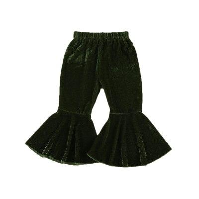 Baby Girls Velvet Bell-Bottoms Children Long Flared Trousers Retro Casual Elastic Waist Pants