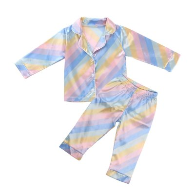 Kids Children Satin Sleepwear Baby Pajamas Sets Colorful Striped Cotton Nightwear Clothes