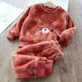 Autumn Winter Flannel Pajamas For Children Plus Velvet Thickening Warm Leisure Home Clothes