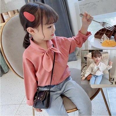 Girls Shirt Neckerchief Versatile Shirt Tops Childrenswear girl blouse