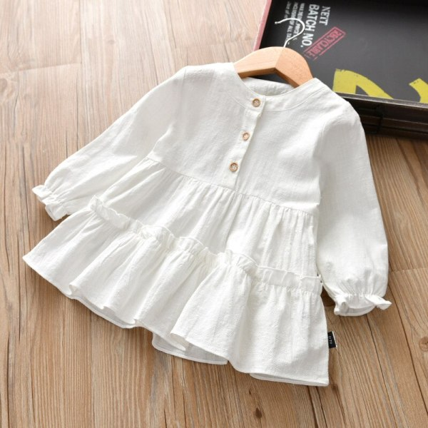 Girls dress Long-sleeved mid-long shirt Solid Spring and Autumn Cotton Clothes