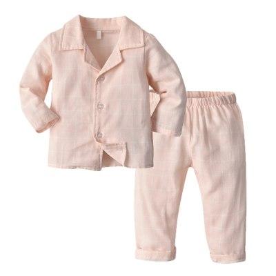 Children's pajamas suits underwear kids girls cotton comfortable cartoon polka dot tops and pants suits