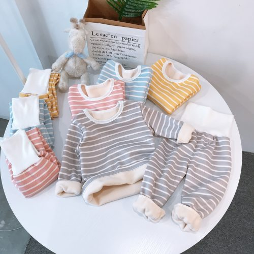 Children Pajamas Sets Baby Clothing Sweatshirt Waist Pants Set Toddler Kids Warm Suit Clothes