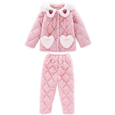 Kids Winter Home Pajamas Set For Toddler Girls Children Three-Layer Plus Velvet Warm Clothing Set