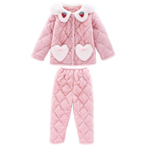 Kids Winter Home Pajamas Set For Toddler Girls Children Three-Layer Plus Velvet Warm Clothing Set