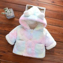 Winter Warm Baby Coat Cute Hooded Jackets Girls Fleece Cartoon Bear Infant Sweaters Hoodies