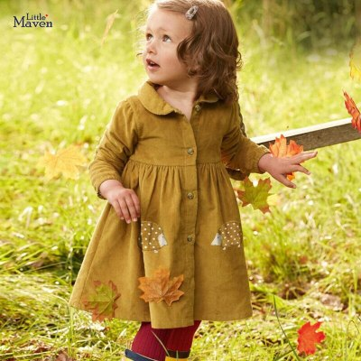 Kids girls children's dress baby girls clothes Cotton Hedgehog applique toddler girl dresses