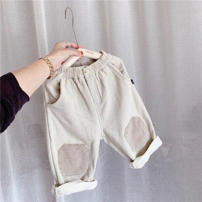Corduroy Pants For Girls Kids Casual Straight Trousers Elastic Waist Plus Velvet Warm Harem Pants