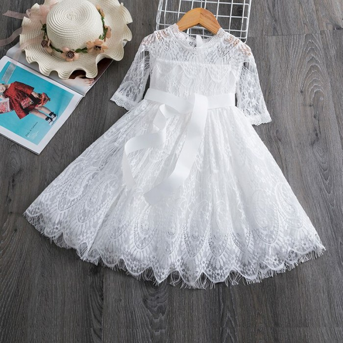 Lace Kids Dresses For Girls Casual Wear Long Sleeves Princess Dress A-Line Party Dress