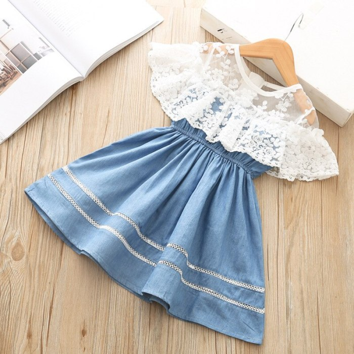 Girl Clothes Dress Denim Lace Dress Little Princess Fashion Outfit Children's Wear For Girls