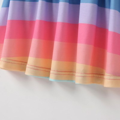 Girls Fashion Dress Colorful Color Rainbow Striped Children's Wear Short Sleeve Cotton Dress