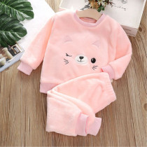 Autumn Winter Home Wear Pajamas For Girls Warm Flannel Cute Baby Sets Casual Kids Clothes