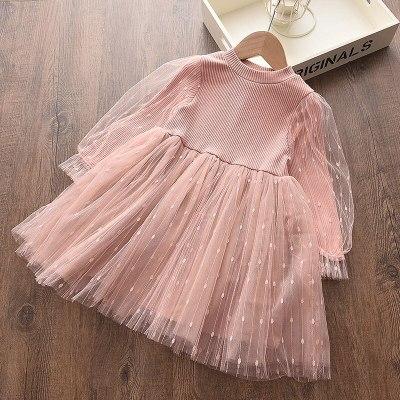Girls Autumn Long Sleeve Dress 2020 Pink Puff Sleeve Fashion Kids Dress Child's clothes
