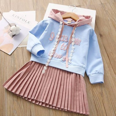 Baby Kids Girls Princess Dress Children's Letter Stitching Lace Hooded Pleated Dress