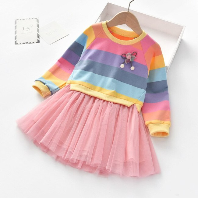 Girls Dresses Long Sleeve Striped Colorful Color Rainbow Princess Fluffy Party Dress
