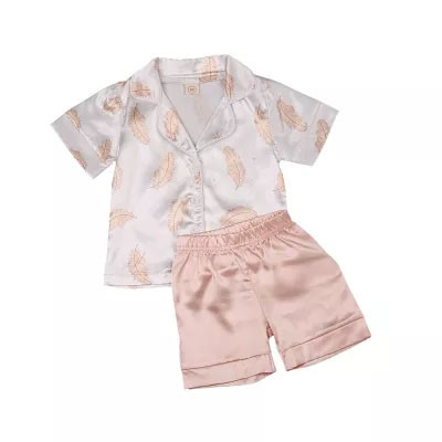Kids Pajama Sets Baby Silk Pajamas Sleepwear Outfit Solid Nightwear Set