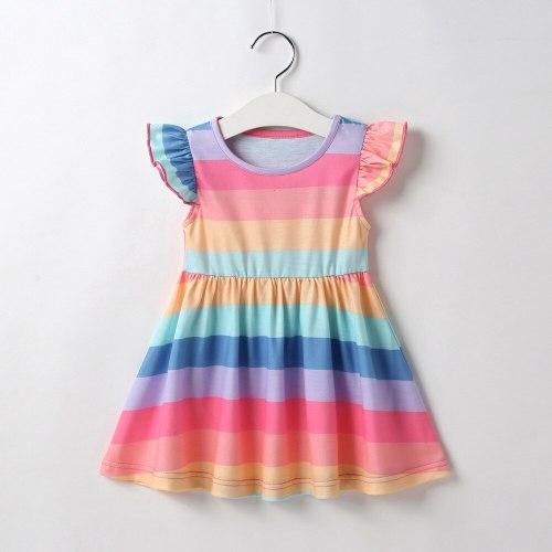 Girls Fashion Dress Colorful Color Rainbow Striped Children's Wear Short Sleeve Cotton Dress