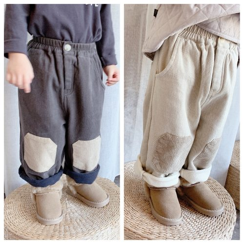Corduroy Pants For Girls Kids Casual Straight Trousers Elastic Waist Plus Velvet Warm Harem Pants
