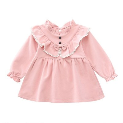 Casual Baby Girls Long Sleeve Cute Bow Princess Dress Kids Pageant Dresses