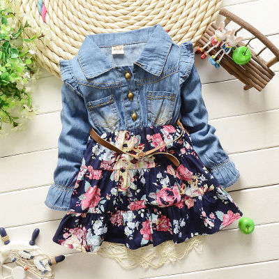 children's Jeans Flower Patchwork dress suit clothing baby girls dress set