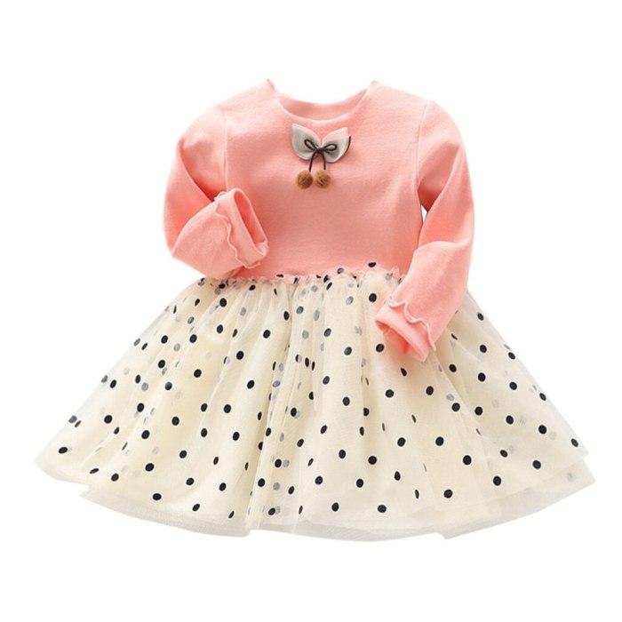 Children's girls princess dress polka dot gauze mesh stitching dress