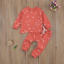 Infant Baby 2PCS Set Print Cotton O-Neck Pullover Top and Drawstring Elastic Waist Pants Clothes Outfit
