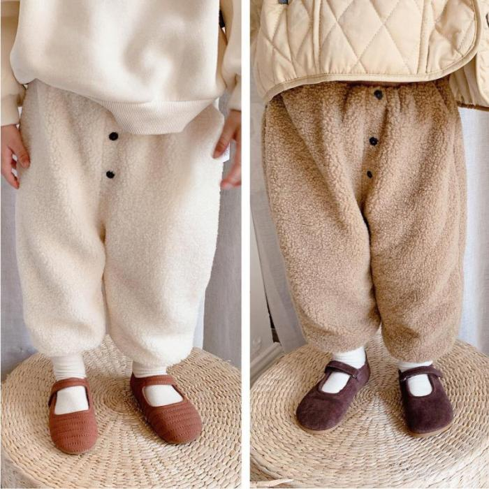 Girls Winter Pants Kids Velvet Thicken Pant Baby Warm Pants Children Casual All Match Trousers