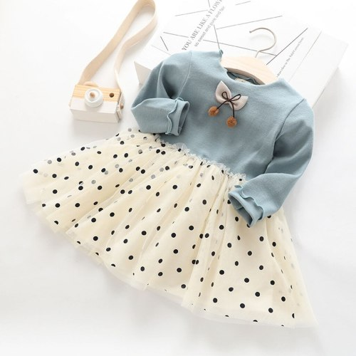 Children's girls princess dress polka dot gauze mesh stitching dress