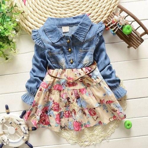 children's Jeans Flower Patchwork dress suit clothing baby girls dress set