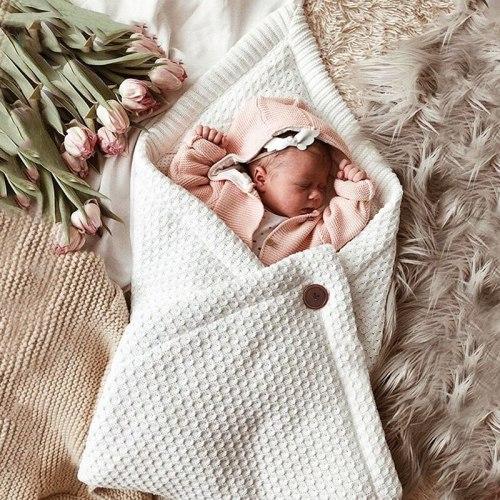 Newborn Baby Envelope Infant Knitted Winter Baby Sleeping Bag Anti-kick Blanket
