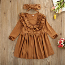 Toddler Kids Baby Girls Dress Ruffles Long Sleeve Solid Party Casual Dress Headband Clothes Outfits