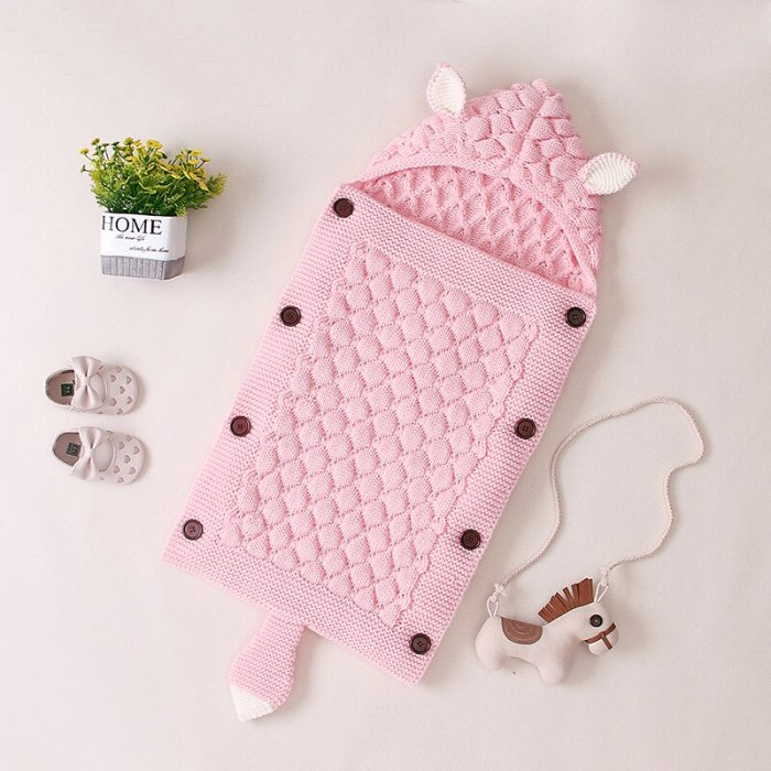 Kids Newborn Infant Sleepsack Baby Sleeping Bag Knitted Baby Cute Hooded Wrap Swaddling Blanket