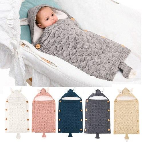 Newborns Stroller Sleeping Bag Baby Envelope Knitted Swaddle Footmuff Sleepsack Infant Sleep Bed Sacks