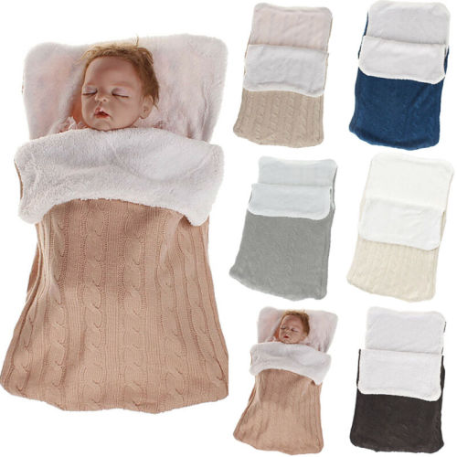 Baby Sleeping Bags Baby Footmuff Liner Pushchair Stroller Cosy Toes Car Seat Knitted Fuzzy Warm Sleepwear