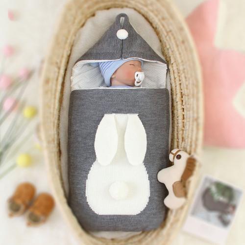 Baby Sleeping Bag Newborn Envelope Infant Winter Knitted Sleeping Bag Baby Hooded Anti-kick Blanket