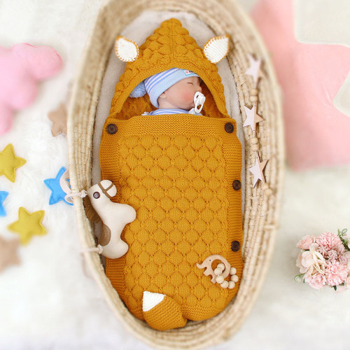 Kids Newborn Infant Sleepsack Baby Sleeping Bag Knitted Baby Cute Hooded Wrap Swaddling Blanket
