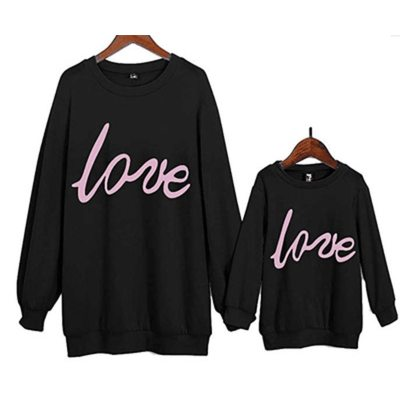 Mother Daughter Family Sweatshirt Love Letter Print Long Sleeve Hoodies Family Matching Clothes