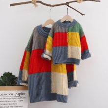 Mother Daughter Family Winter Long Sleeve Warm Sweaters Mommy And Me Loose Pullovers Family Matching Clothes