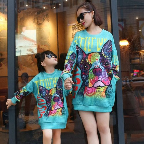 Mother Daughter Long Sleeve Print Sweatshirt Dress Casual Family Hoodies Family Matching Clothes