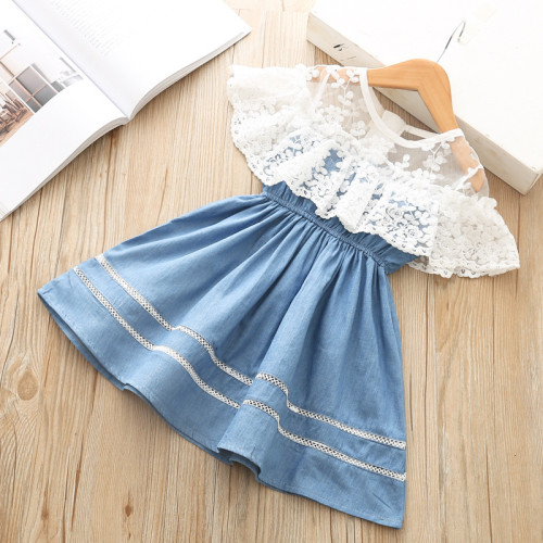 Girl Clothes Dress Denim Lace Dress Little Princess Fashion Outfit Children's Wear For Girls
