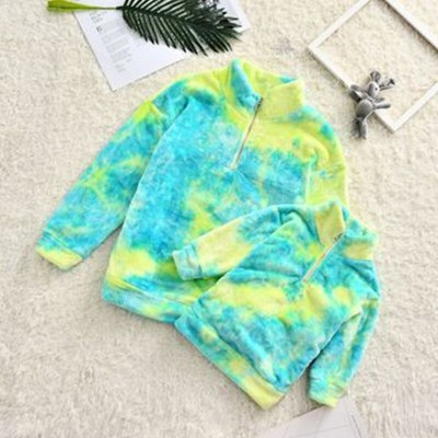 Mother Daughter Tie-dye Print Sweatshirts Long Sleeve Warm Fleece Pullovers Family Matching Clothes