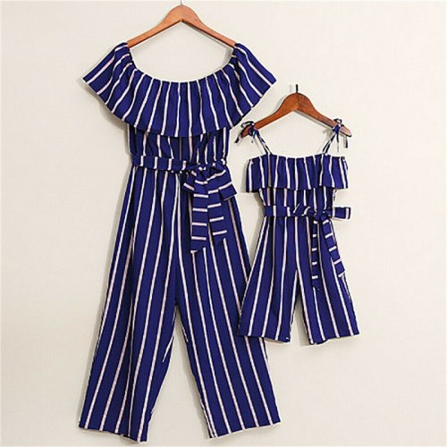 Family Matching Outfits Summer Striped Rompers Mom Off-shoulder Ruffles Kids Girls Long Jumpsuit