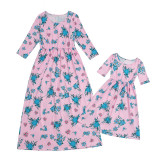 Mother daughter Dresses Family Looks Mommy and me Fashion Floral Print Half Sleeve Clothing
