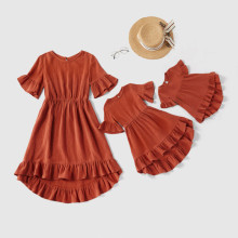 Famiy Matching Clothes Mother Daughter Baby Girl Dresses Ruffle Sleeve Family Look