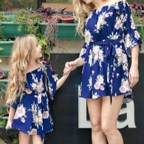 Family Look Slash Neck Ruffles Floral Mini Dress Mom and Daughter Family Matching Clothes
