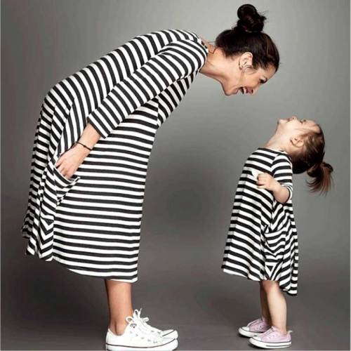 Family matching dresses striped mom dress kids child outfits