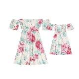 Family Matching Sets Off Shoulder Floral Dress