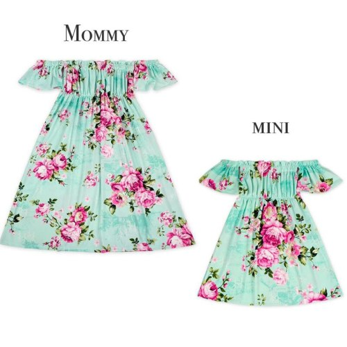 Sweet Lovely Family Matching Sets Dress Mother Daughter Off Shoulder Floral Print A-Line Knee-Length Dress