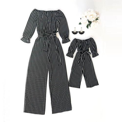 Mother and Daughter Girls Off Shoulder Jumpsuit Outfits Clothes