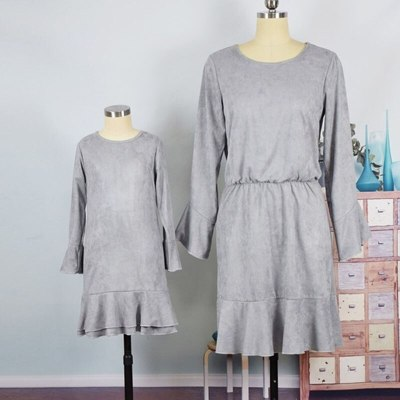 Mother Daughter Family Dresses Long Flare Sleeve Mini Dress Mommy And Me Family Matching Outfits Family Look